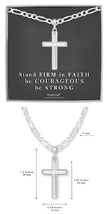 mens sterling silver domed cross necklace