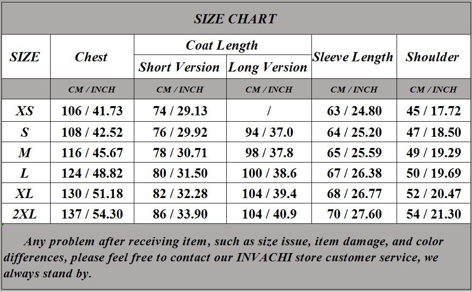 INVACHI size chart