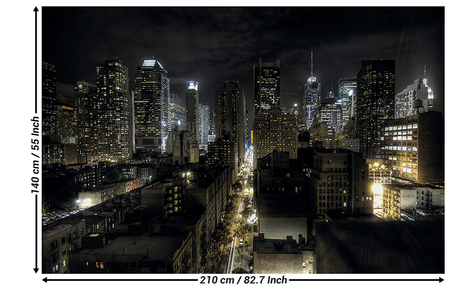 Great Art Mural New York City Manhattan At Night Wall Picture Wallposter Decoration Nyc Mural American Landscape Poster Usa Decor 827 X 55 Inch