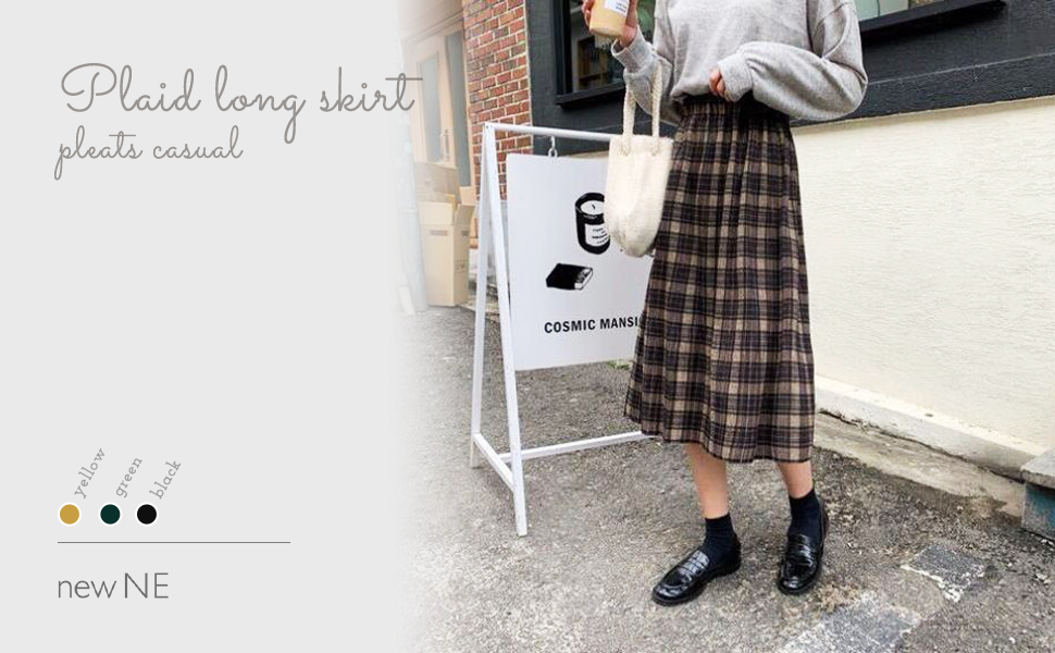 Trendy check skirt with styling accents.The long length skirt gives a mature impression, and the plaid pattern can also be used as an accent for styling.