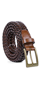 brown woven braided leather belt