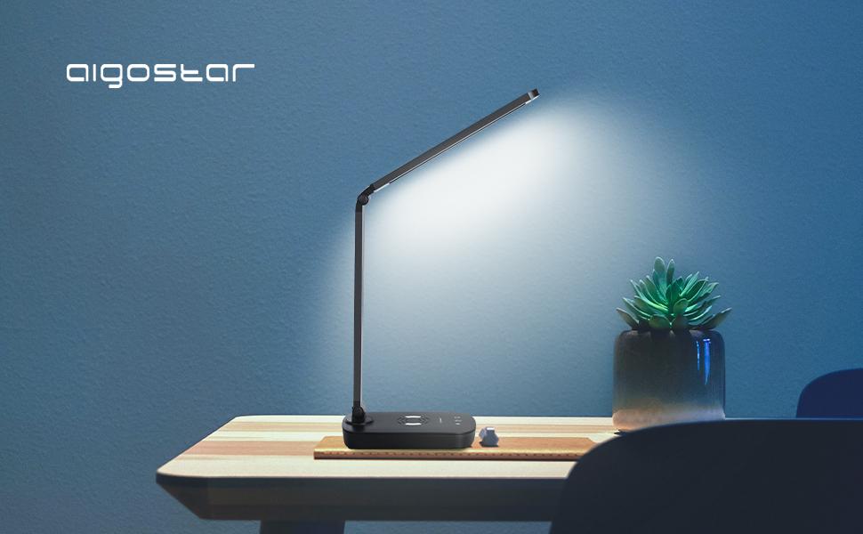 Aigostar Owen - Lámpara de escritorio, Flexo led táctil 5W, Base para carga inalámbrica, Vuelta al cole, 3 modos de iluminación de luz blanca a cálida (2700K-6500K), 200lm. Negro.: Amazon.es: Iluminación