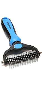 Maxpower Plane Double Sided Shedding and Dematting Undercoat Rake Comb for Dogs and Cats,Extra Wide