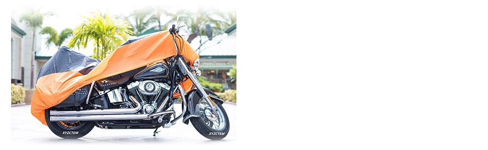black &orange motorcycle cover