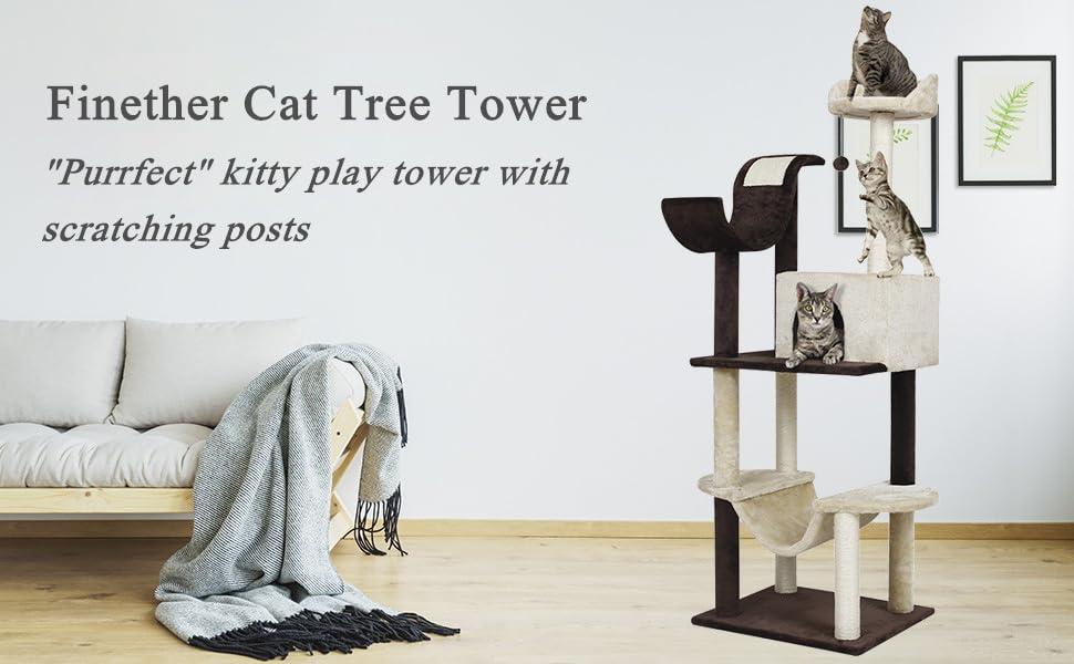 cat climbing tree cat scratch post cat play tower tall cat tree cat activity tree