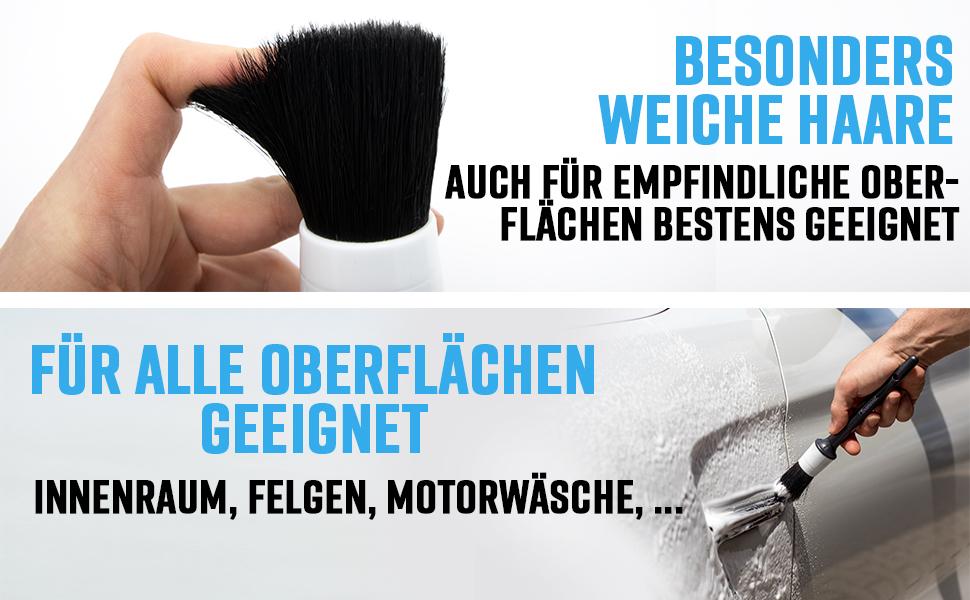 Cleaneed Premium Detailing Pinsel Set 5 StÜck Schonende Einfache Reinigung Universal Anwendbar Für Alufelgen Auto Innenraum Motorrad Reinigungspinsel Detail Bürste Auto