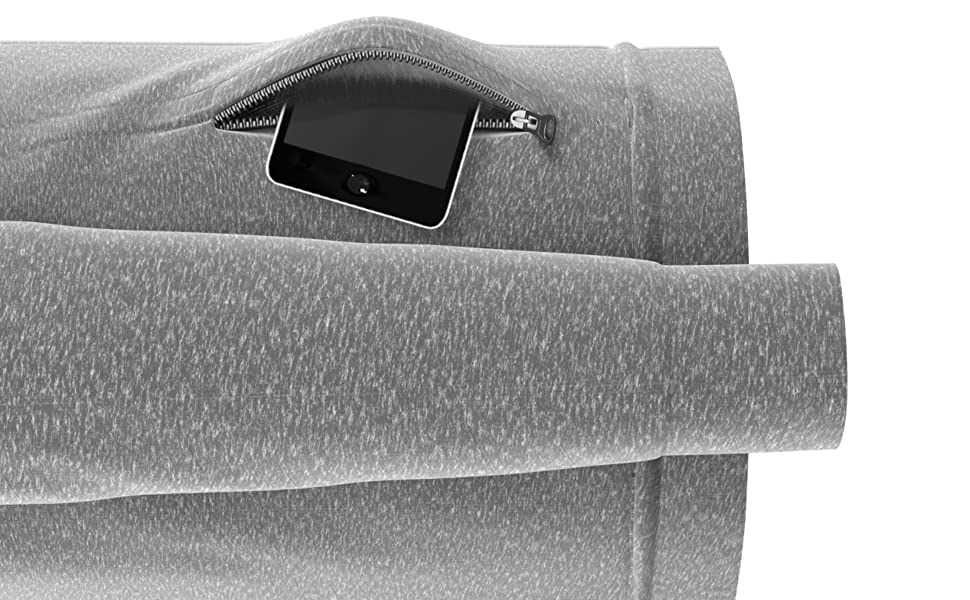 Zip Up Hoodie | Men's Active Sweatshirt with Zipper Pockets - Black & Grey | Comfort 360°