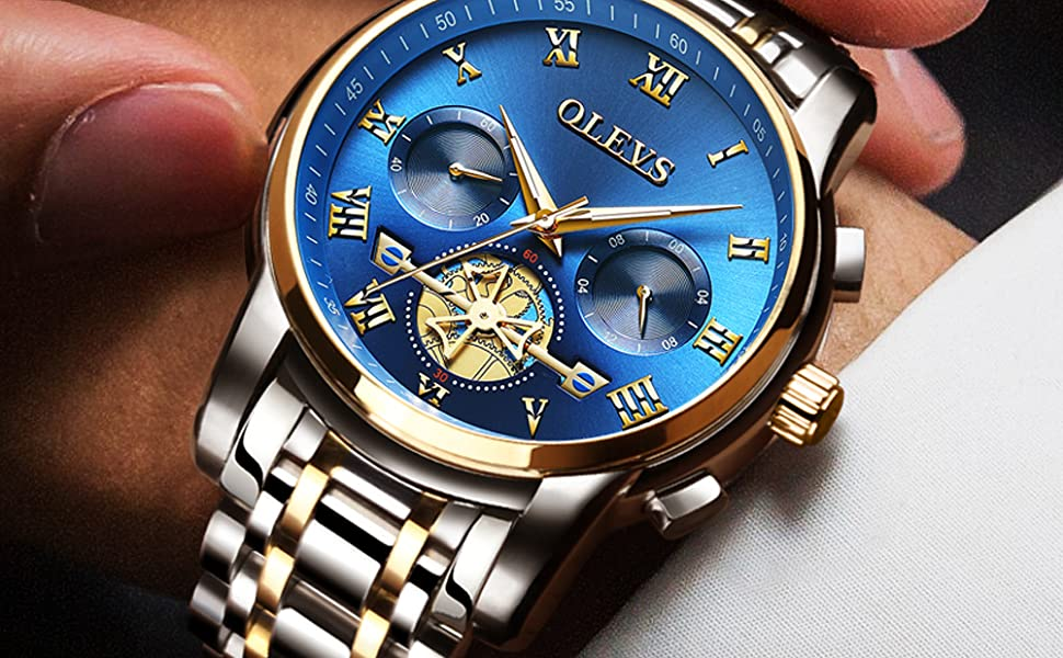 olevs watch chronograph latest wrist blue dial stylish luxury brand