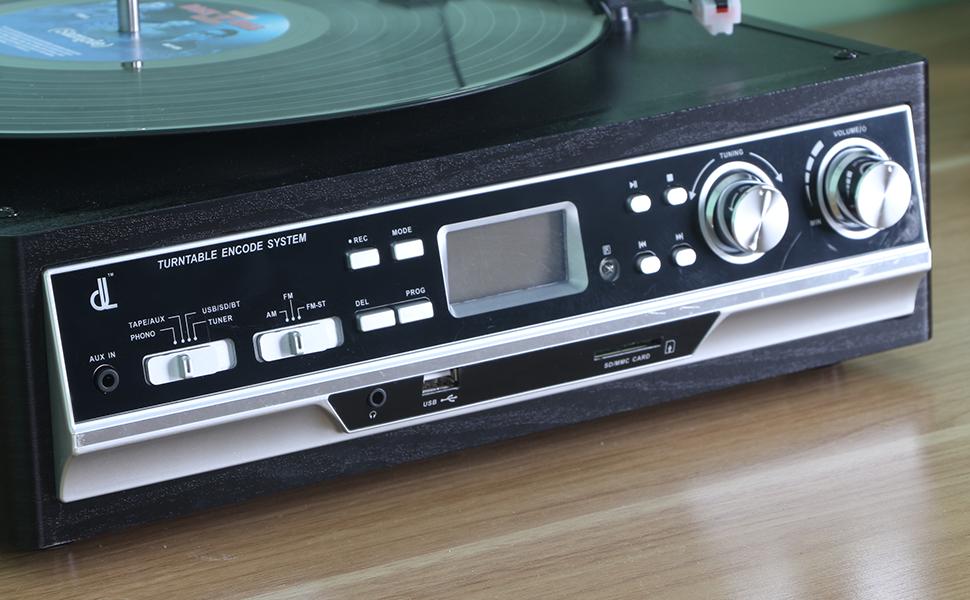 Giradiscos de Tocadiscos dl Record Player, 33/45/78,FM,Casete,USB ...