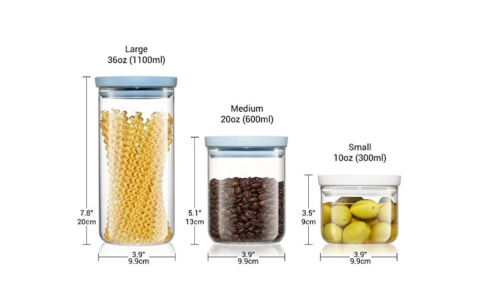 glass containers for food storage with lids multi size small large medium