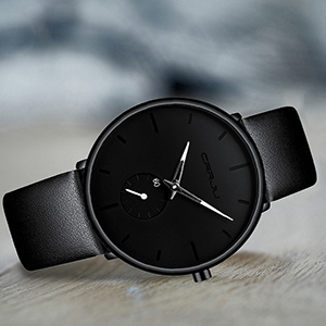 men watch watches for men  black leather  watch