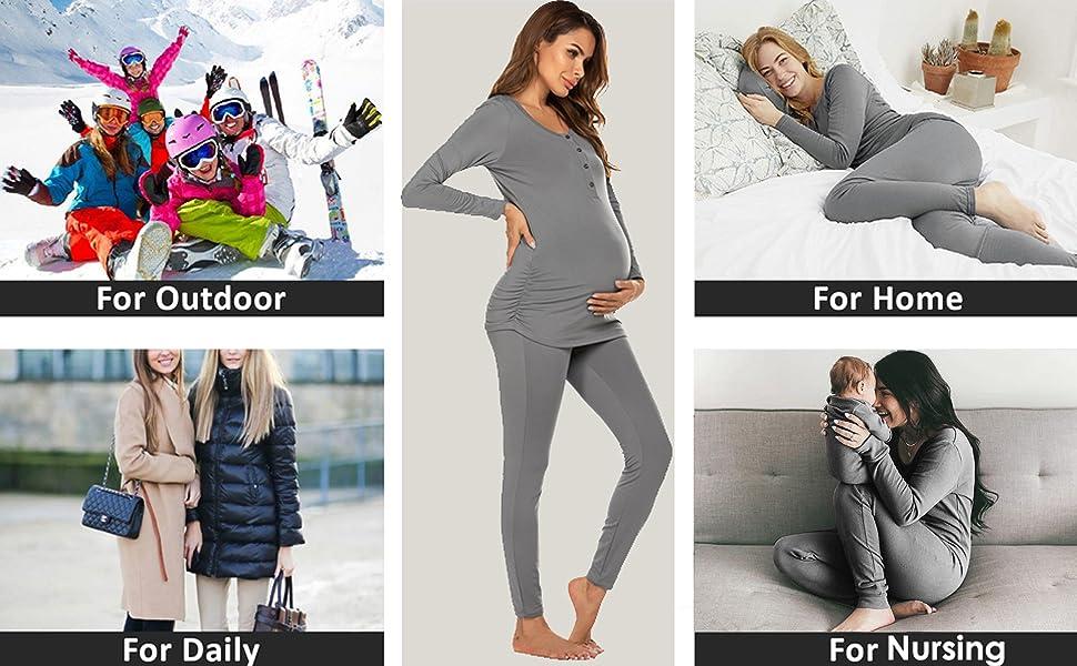 Maternity & Nursing Thermal Underwear Set Knit Long Johns Set Top & Bottom Base Layer for Pregnant