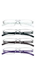 4 Pairs Reading Glasses, Blue Light Blocking Glasses, Computer Reading Glasses for Women Men