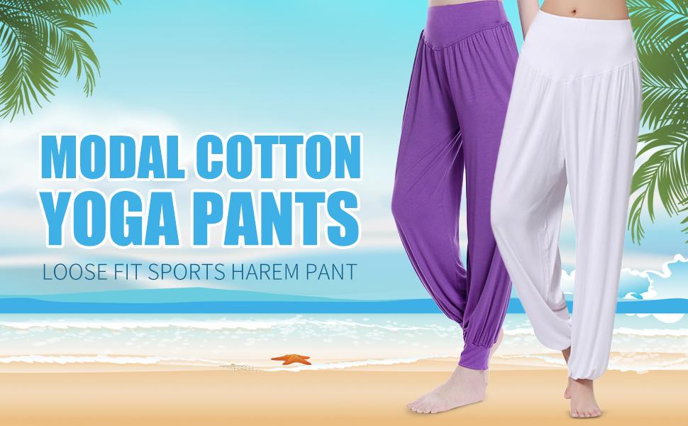 OMZIN Womens Solid Color Modal Cotton Loose Fit Soft Yoga Sports Dance Harem Pants