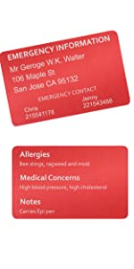 Customized Emergency Card laser engraving medical allergy life death information first-aid essential