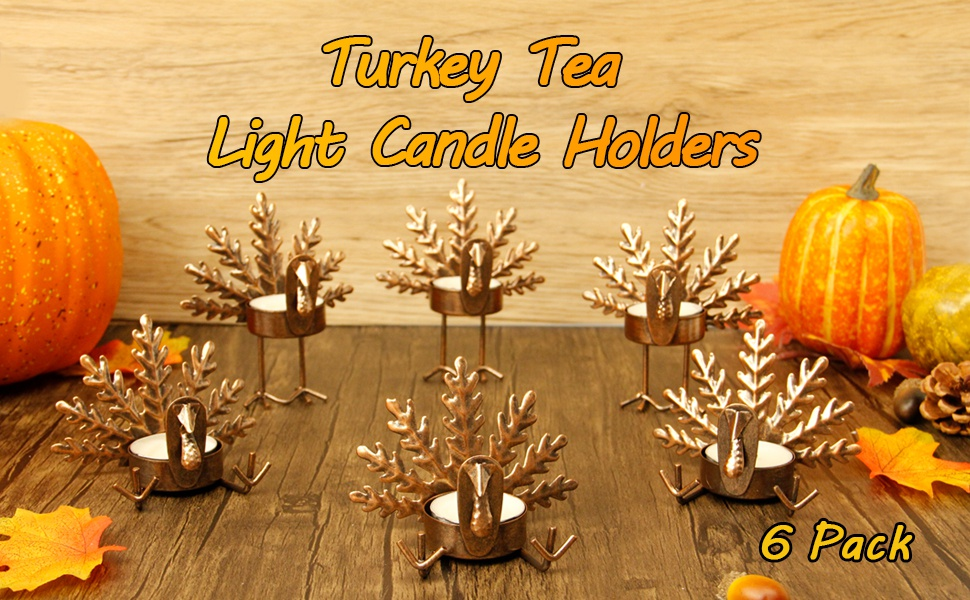 Turkey Candle Holder Thanksgiving Decoration for Home FORUP 6 Pack Metal Turkey Tea Light Candle Holders Thanksgiving Candle Holder Metal Candle Holder