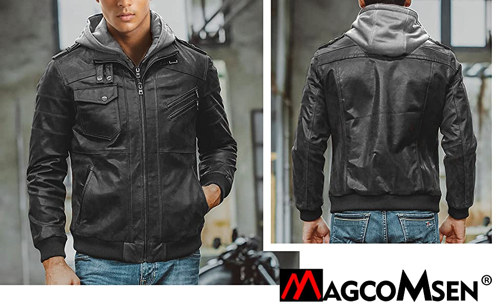 brown leather jacket with hood brown plus size jacket faux leather bomber jacket men
