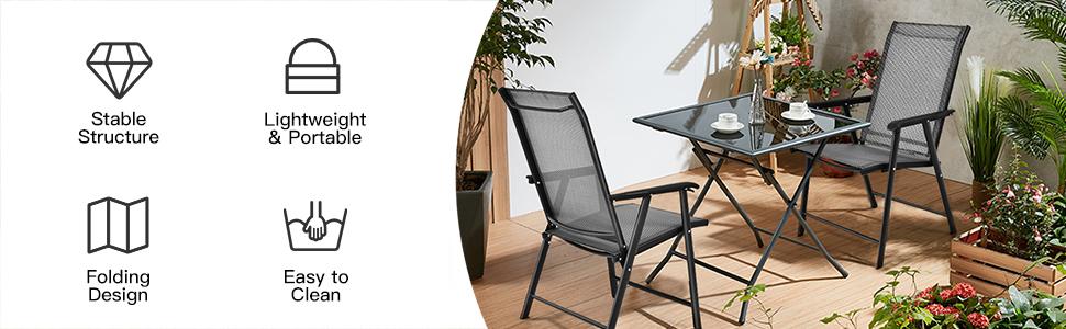Patio Folding Chairs Set