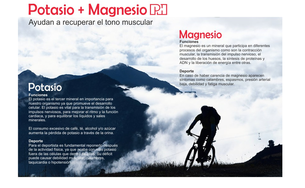 POTASIO MAGNESIO PH 500 mg/150 mg para disminuir el cansancio y mejorar el rendimiento físico