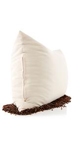 PILLOWY Buckwheat Big Buck Bed Pillow Filled with US Grown Organic Buckwheat Hulls Cool Ventilati