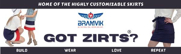 A-Line Skirt Customizable Reversible Pockets Tiered Mini  Modest School Uniform  Zipper Zirts