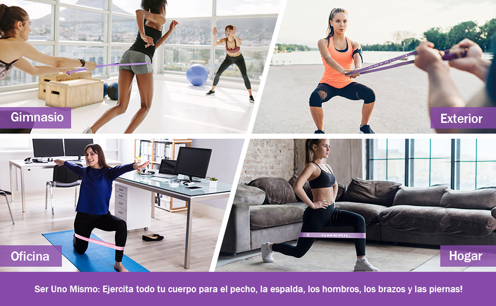 OMERIL Bandas Elasticas Musculacion, Cintas Elasticas Fitness Látex Natural con 5 Niveles Ejercicios en Piernas, Glúteos y Brazos, 5 Bandas Elasticas ...