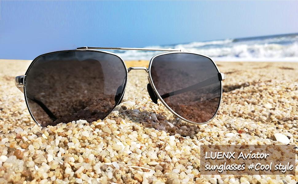 LUENX Men Aviator Sunglasses