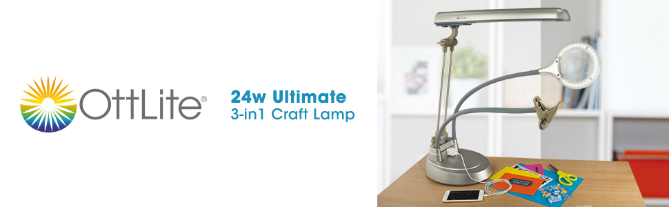 24w ultimate 3-in-1 led magnifier craft lamp adjustable floor lamp table lamp clamp flexible