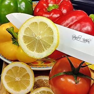 Fruits and veggies, black ceramic knife