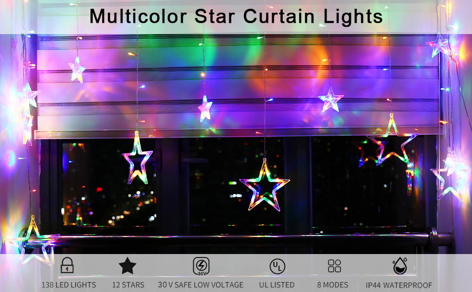 multicolor curtain string lights led plug in with remote