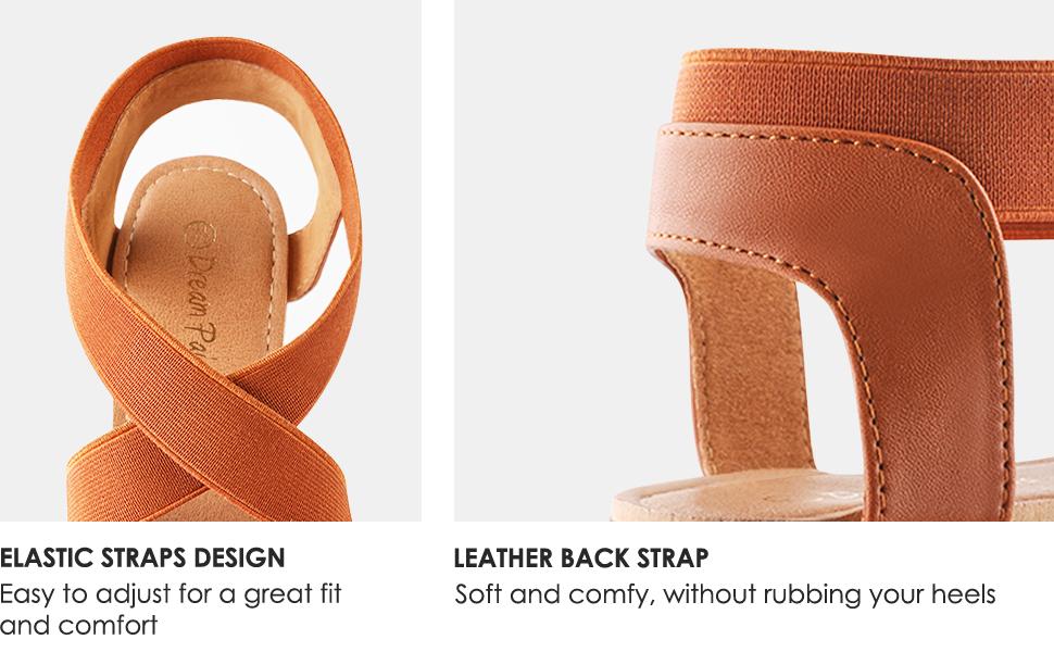Elastic straps design and leather back strap