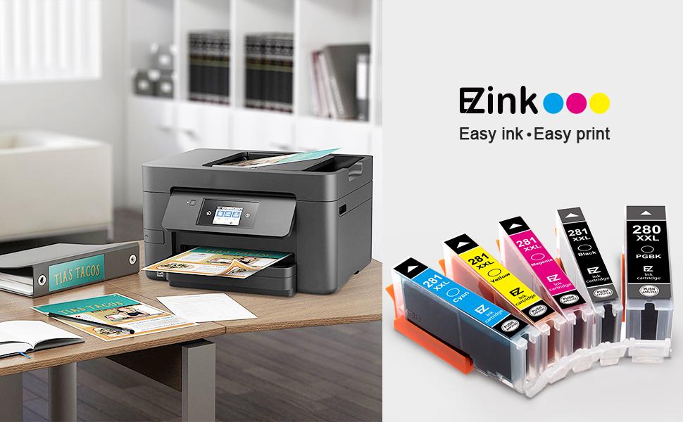 EZ Ink (TM) Compatible Ink Cartridge Replacement for Canon PGI-280XXL CLI-281XXL PGI280 XXL CLI281XXL for PIXMA TR7520 TR8520 TS6120 TS6220 TS8120 ...
