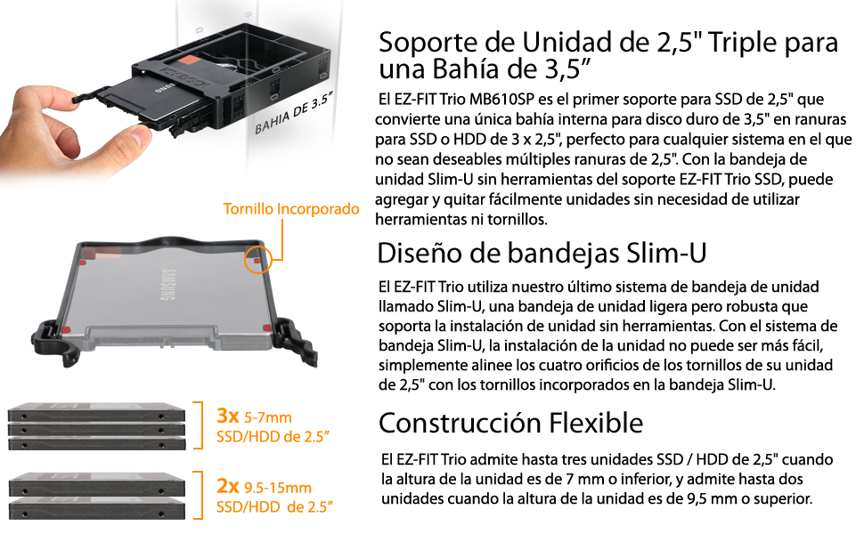 Icy Dock EZ-Fit Trio MB610SP - EZ-FIT Trío Soporte SSD/HDD 2.5 ...