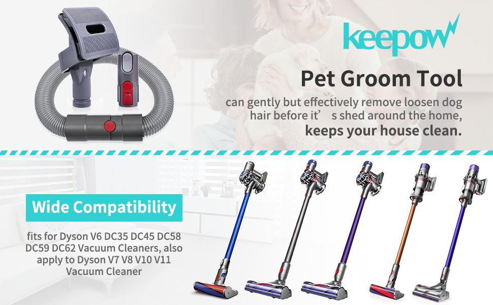 KEEPOW pet dog groom attachment tools for dyson v7 v8 v10 v11 cordless stick vacuums
