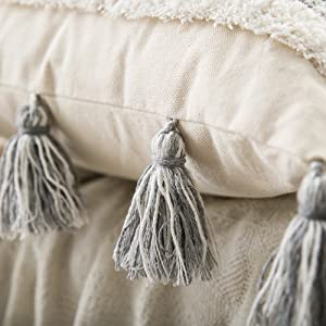 boho decor pillow with tassels fringe