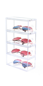 4 drawers clear sunglasses case