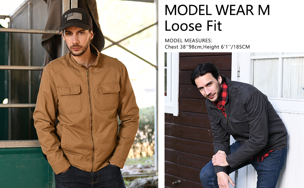 WenVen Mens Cotton Canvas Lightweight Casual Military Jacket
