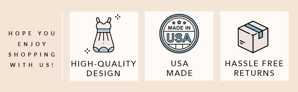 high quality design, usa made, hassle free returns