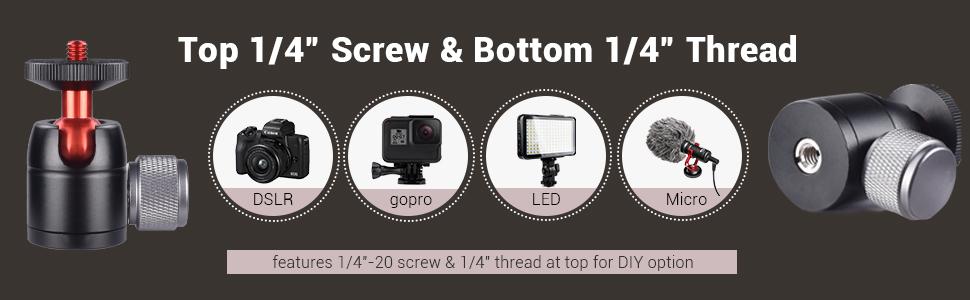 suitable for dslr camra, gopro, led light, microphone, tripod