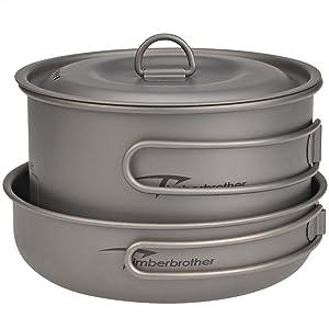 Titanium pot and pan set