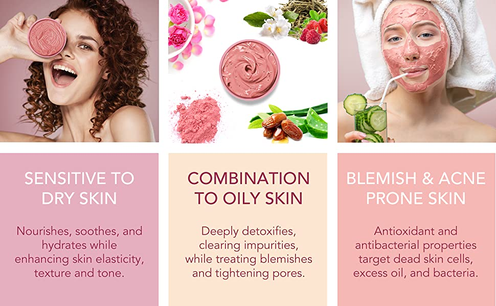 rose berry rose water and berries and white tea pink clay mask 1