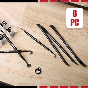 6-Piece Non-Marring Pick and Prybar Set includes reinforced nylon pry bars and precision picks