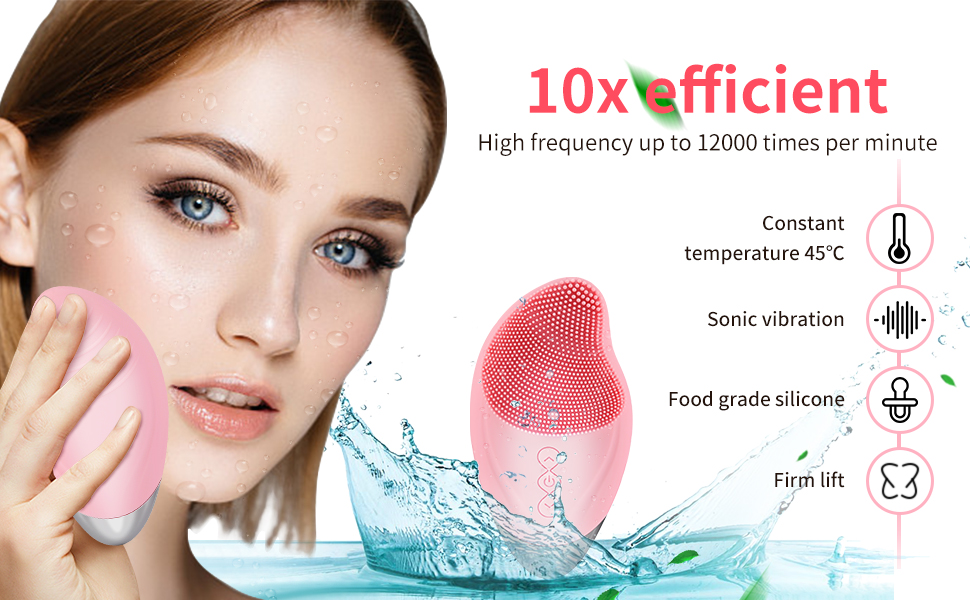 Sonic Facial Cleansing Brush Heated 5 Speed Silicone Face Cleansing Brush rechargeable Waterproof