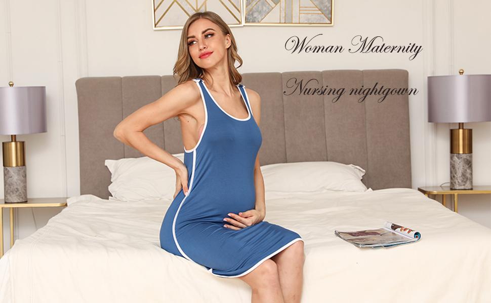 Woman Maternity Nightgowns Pregnancy Dresses Breastfeeding Sleeveless