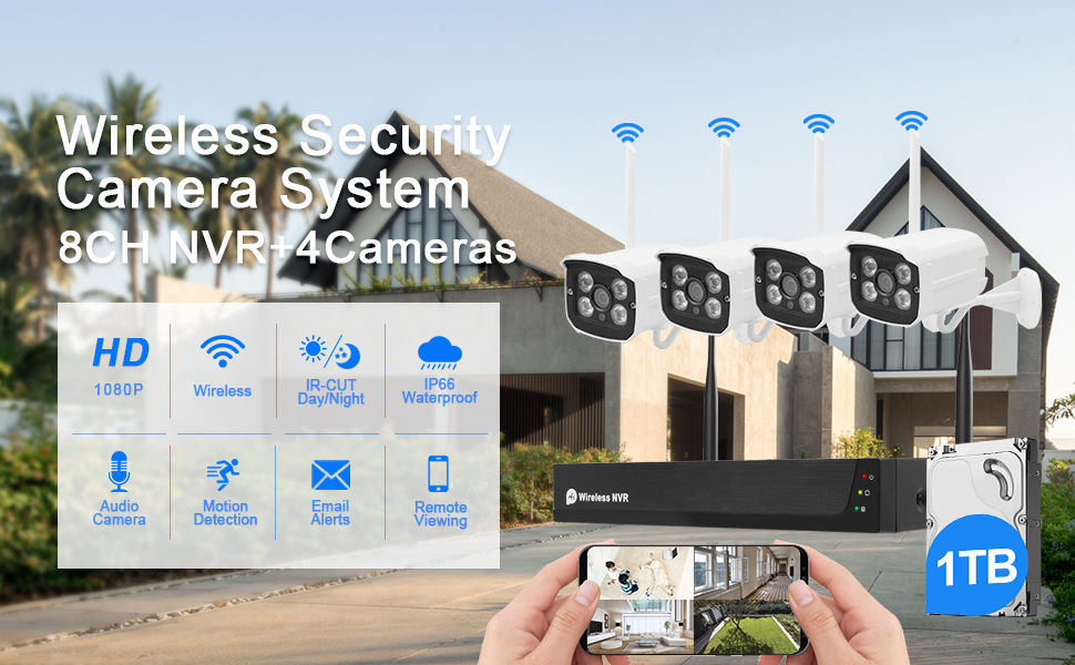 wireless security camera system home outdoor night