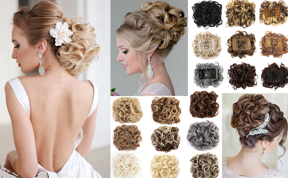Messy Curly Hair Bun Extensions Updo Hairpiece Chignons Easy Stretch Hair Combs Ponytail Extensions