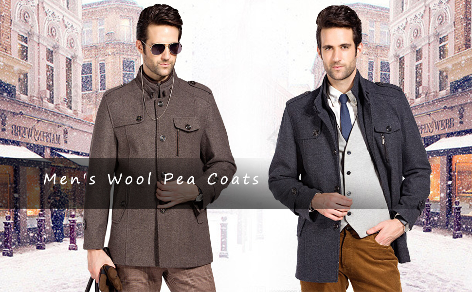 PASOK Mens Wool Blend Jacket Stand Collar Trench Overcoat Single Breasted Quilted Pea Coats