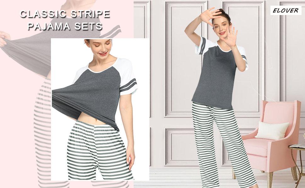 ELOVER Womens Pajamas Set Two-Piece Pj Sets Sleepwear Short Sleeve Top&Pants Cotton Grey Loungewear