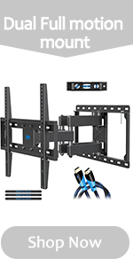 dual full motion tv wall mount with hdmi cable and cable ties