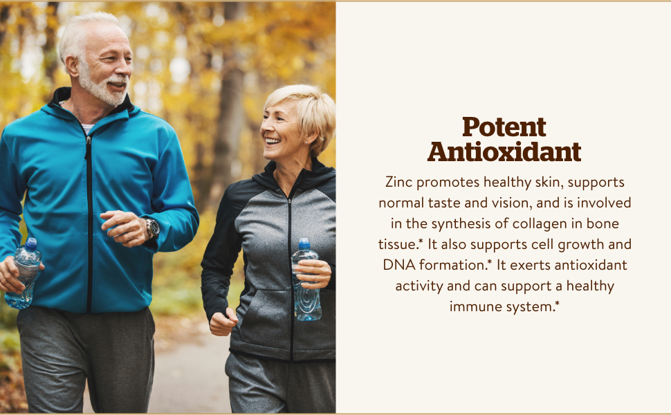 Immune Support; Zinc exerts antioxidant activity and can support a healthy immune system